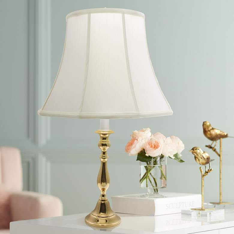 Polished Brass White Shade Candlestick Table Lamp