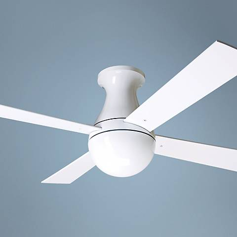 "42"" Modern Fan Gloss White Ball Hugger Ceiling Fan J9288"