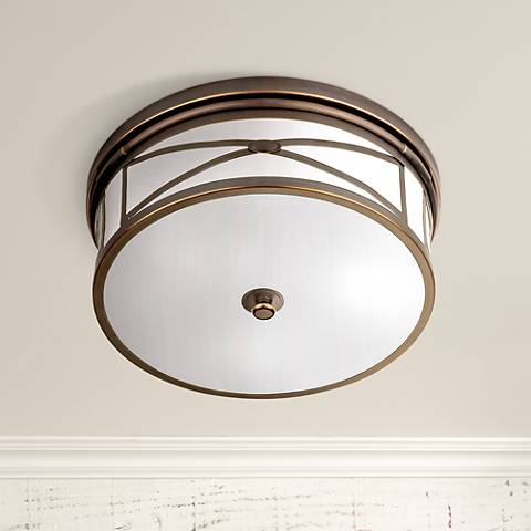 "Robert Abbey Chase 15"" Wide Bronze Flushmount Ceiling Light"
