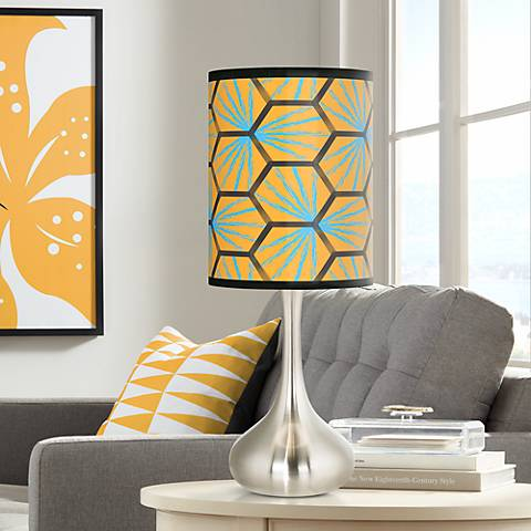 Hexagon Starburst Giclee Droplet Table Lamp