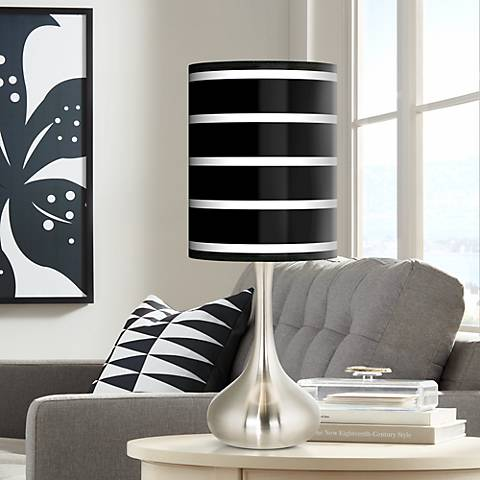 Bold Black Stripe Giclee Droplet Table Lamp