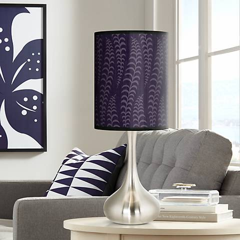 Stacy Garcia Fancy Fern Rich Plum Giclee Droplet Table Lamp
