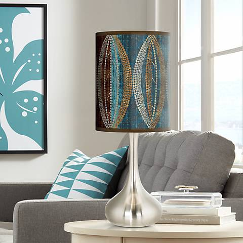 Stacy Garcia Pearl Leaf Peacock Giclee Droplet Table Lamp