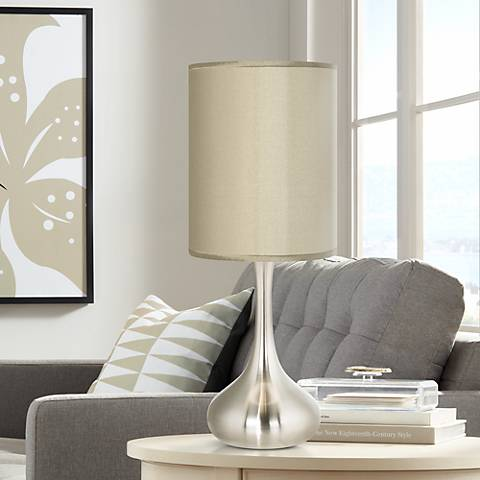 Sesame Faux Silk Brushed Steel Droplet Table Lamp