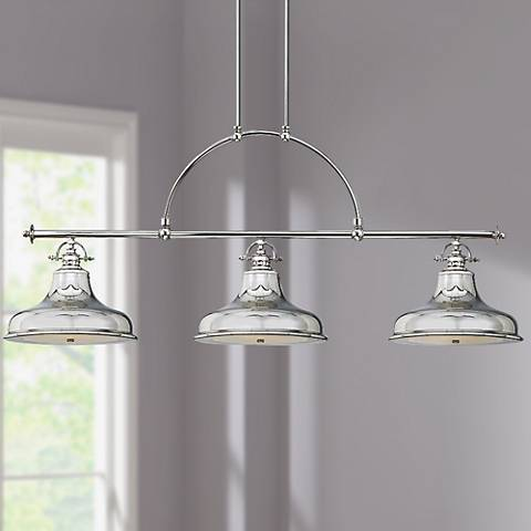 Emery Silver Finish Rod Hung 3-Light Island Chandelier