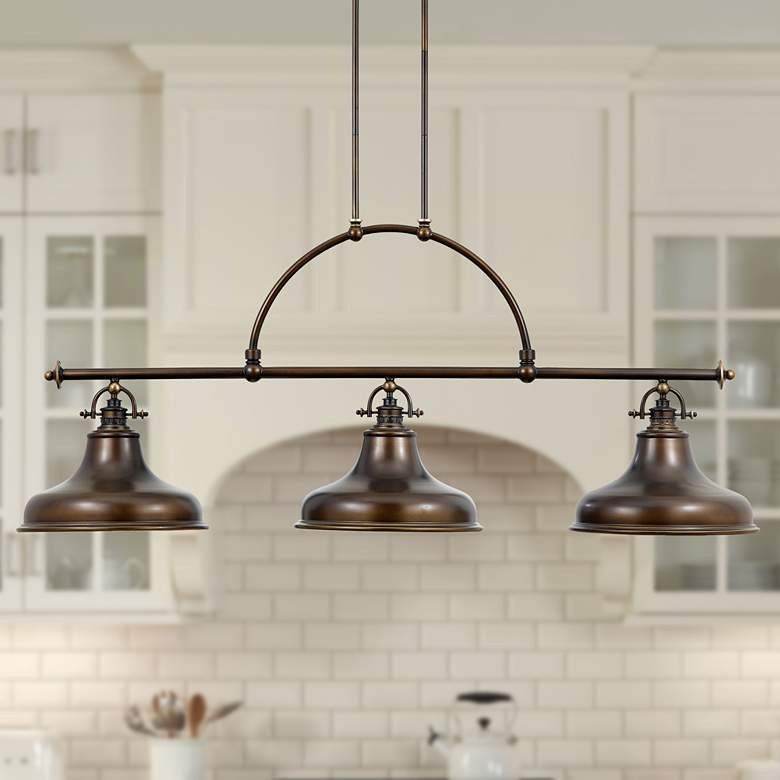 "Emery 53 1/2"" Wide Bronze Kitchen Island Light Chandelier"