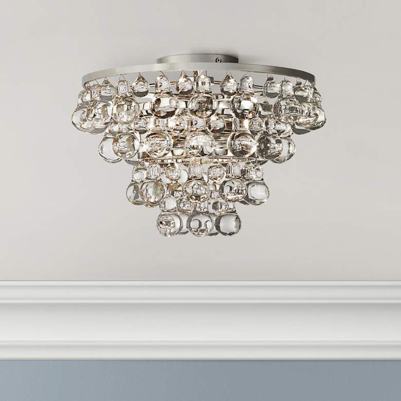 Bling Collection Polished Nickel Flushmount Ceiling Light