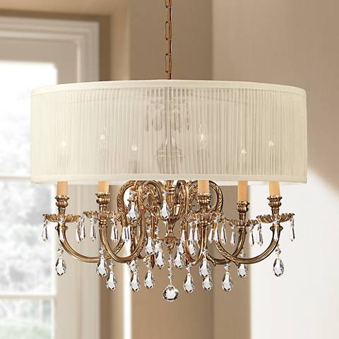 Brentwood Collection Olde Brass 6-Light Crystal Chandelier