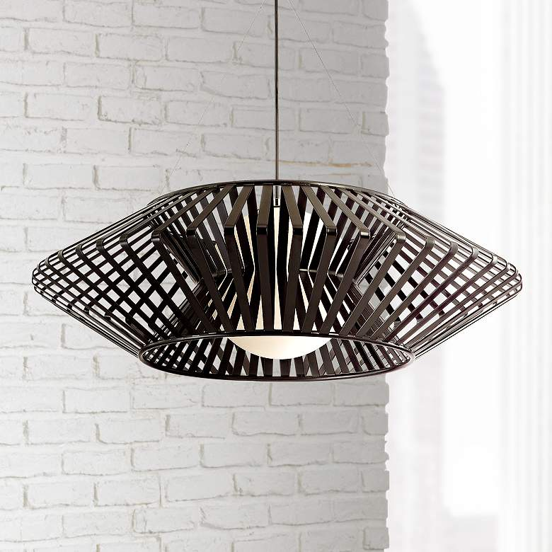 "Possini Euro Planet 31 1/2""W Black Finish Modern Chandelier"
