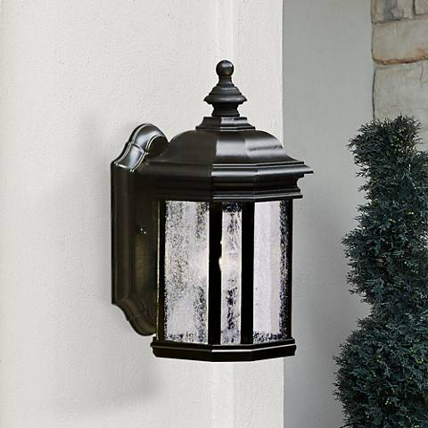 "Kirkwood Black Finish 13"" High Outdoor Wall Light"