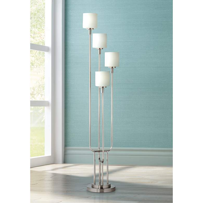 Brushed Nickel And Frosted Glass Light Tree Floor Lamp