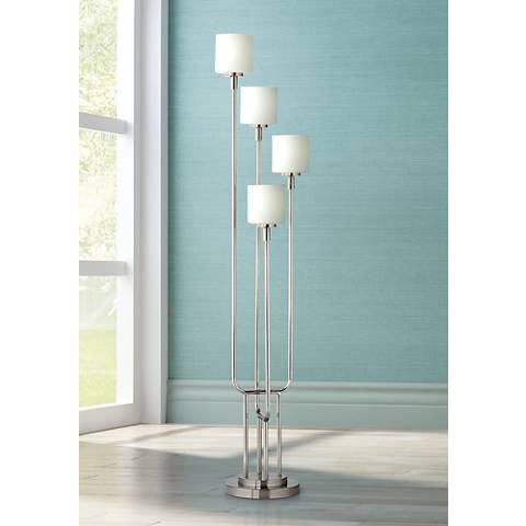 Brushed Steel and Frosted Glass Light Tree Floor Lamp