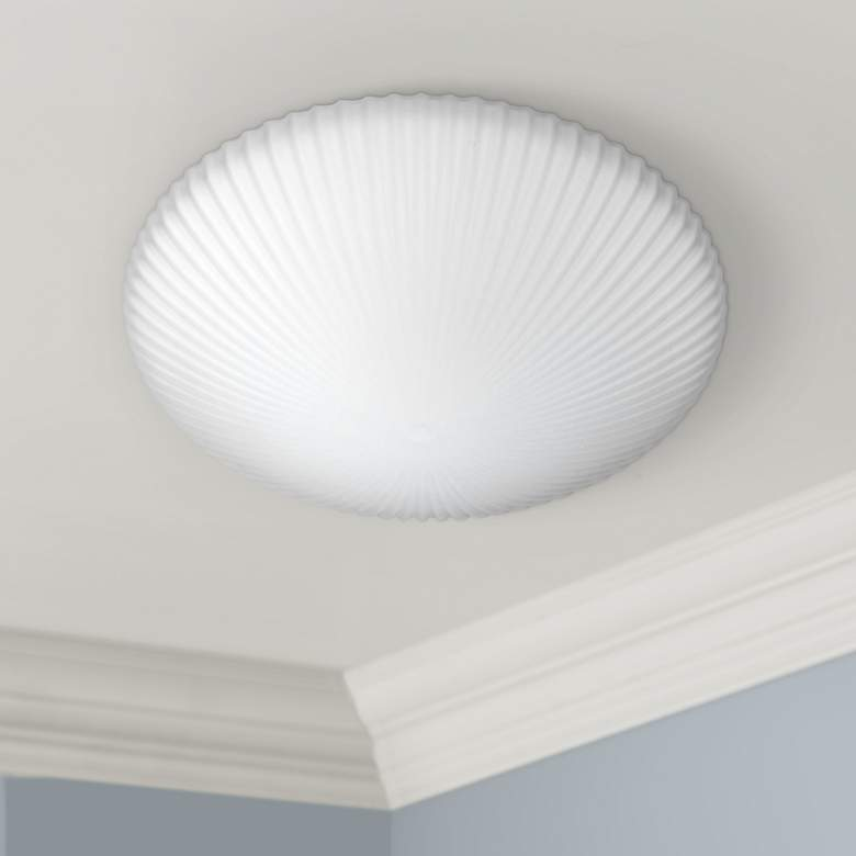 "Besa Katie 12"" Wide White Ceiling Light"