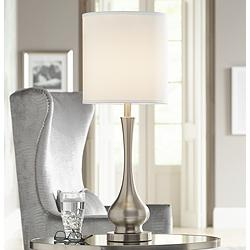 Possini Euro Sleek Gourd Brushed Nickel Table Lamp