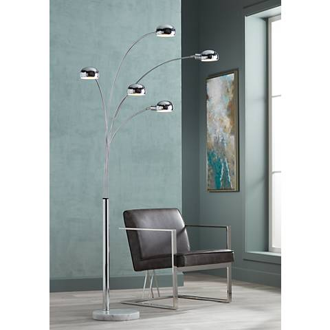 Marble Base Five Light Arc Floor Lamp