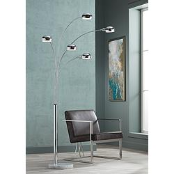 "Infini 78"" High 5-Light Arc Floor Lamp with Marble Base"