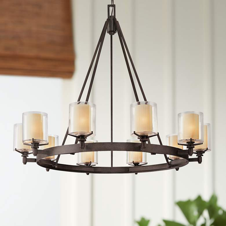 "Arcadia 39 3/4"" Wide French Iron 10-Light Chandelier"