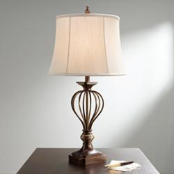 Kathy Ireland Villa Roma Open Cage Marble Accent Table Lamp