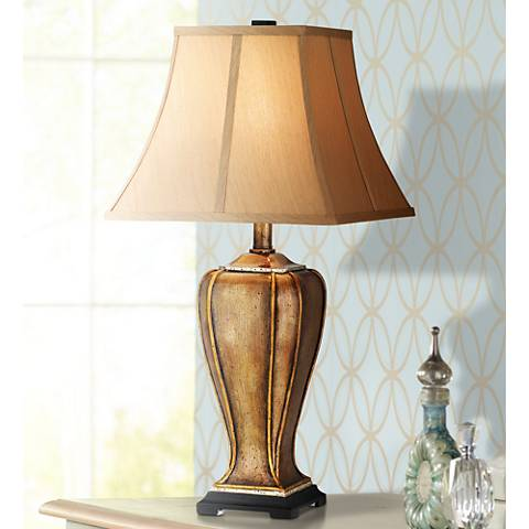 Golden Copper Stippled Table Lamp