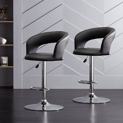Groove Black Faux Leather Swivel Bar Stools Set of 2