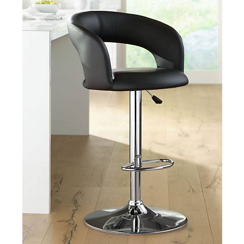 Groove Black Faux Leather Adjustable Swivel Bar Stool