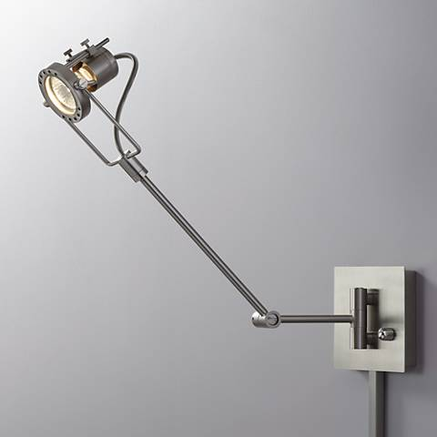 Single Spotlight Steel Finish Plug-In Swing Arm Wall Lamp