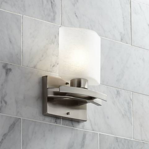 "Possini Euro White Linen Glass 8 1/2"" Wide Bath Wall Sconce"