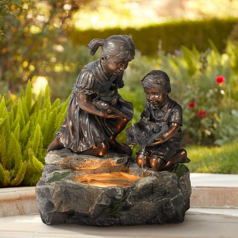 "Girl and Boy with Lily Pad 23 1/2"" High Lighted Fountain"