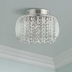 "Possini Euro Crystal Rainfall 11""W Glass Drum Ceiling Light"