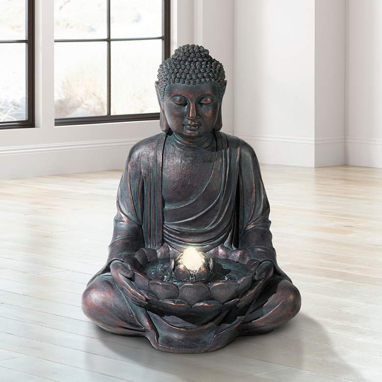 "Meditating Buddha 24"" High Bubbler Fountain with Light"