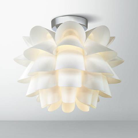 "Possini Euro Design White Flower 15 3/4"" W LED Ceiling Light"