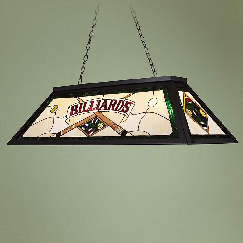 "Billiards 44""W Green Tiffany Kitchen Island Light Chandelier"