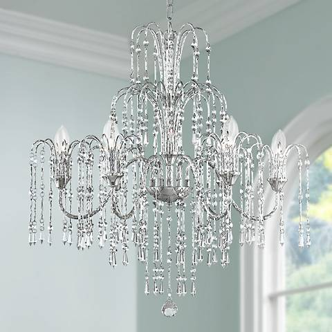 Crystal rain 29 wide 6 light crystal chandelier