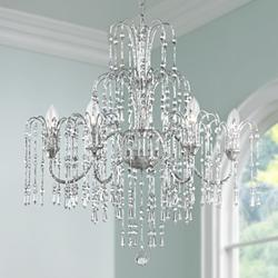 "Crystal Rain 29"" Wide 6-Light Halogen Crystal Chandelier"