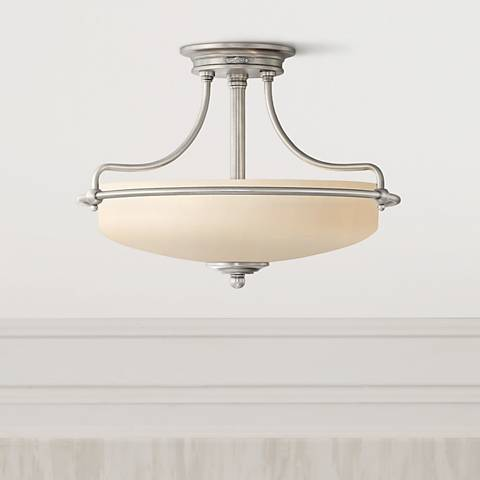 "Griffin Collection Antique Nickel 17"" Wide Ceiling Light"
