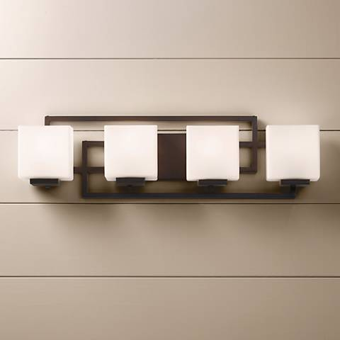 "Lighting on the Square Bronze 29"" Wide Bath Wall Light"