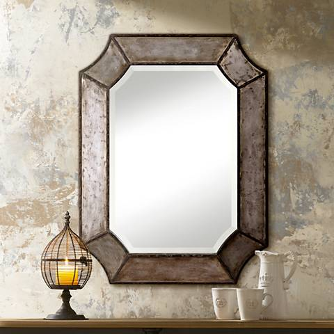"Uttermost Elliot Burnished Aluminum 24"" x 32"" Wall Mirror"