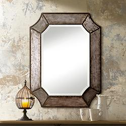 "Elliot 32"" x 24"" Antique Aluminum Wall Mirror"