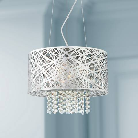 Possini Euro Design Chrome Nest with Crystal Pendant