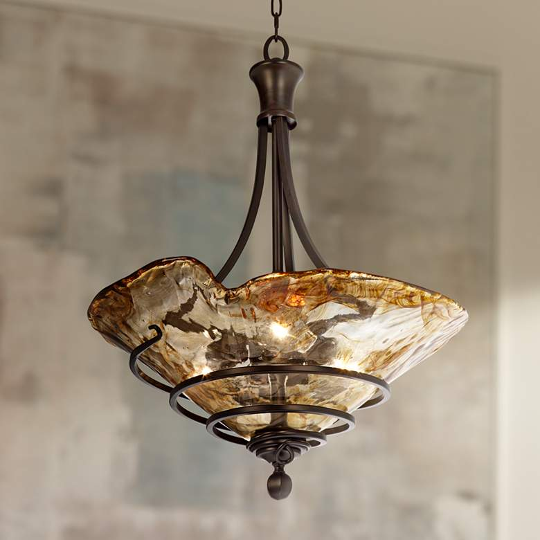 "Lampplus: Uttermost Vitalia 22 1/4"" Wide 3-Light Pendant Chandelier"