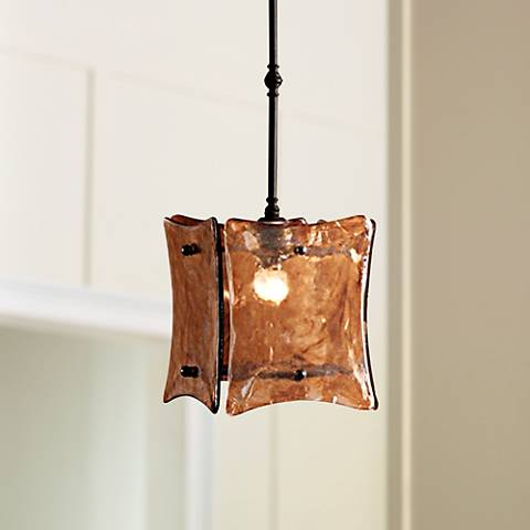 "Uttermost Vetraio II 9"" Wide Toffee Art Glass Mini Pendant"