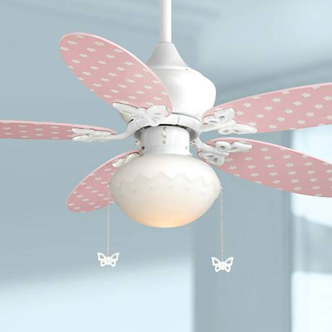 "44"" Vaxcel Alice Pink and Daisy Print Ceiling Fan"