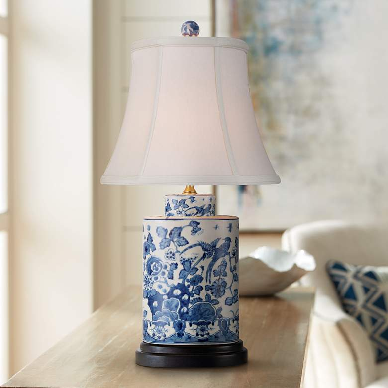Blue and White Oval Porcelain Table Lamp