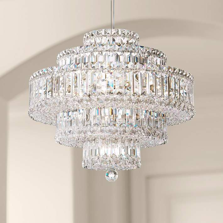 Schonbek Plaza 9 Light Swarovski Crystal Pendant Chandelier N2894 Lamps Plus