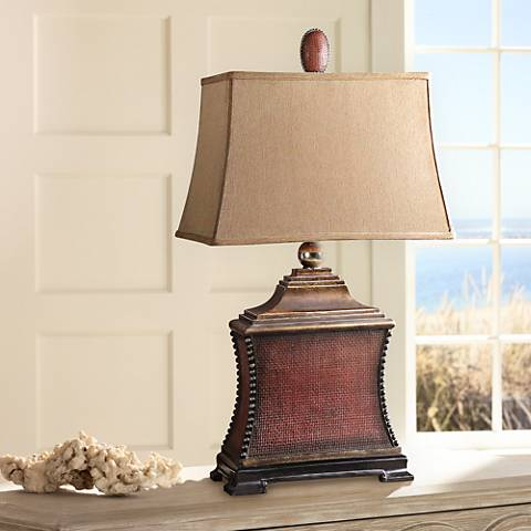 Uttermost Pavia Aged Red Woven Texture Table Lamp