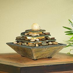 "Four Tiers Feng Shui natural Slate 9"" H LED Table Fountain"