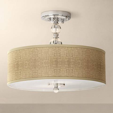 "Burlap Print 16"" Wide Semi-Flush Ceiling Light"