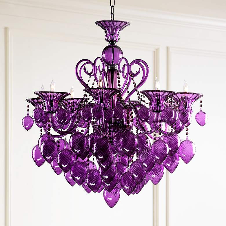 Bella Vetro Purple Glass Chandelier