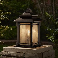 "Hickory Point 16 1/2"" Walnut Bronze Outdoor Pier Mount Light"