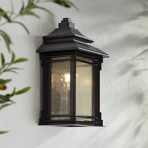 "Hickory Point 16 1/2"" High Bronze Outdoor Pocket Wall Light"
